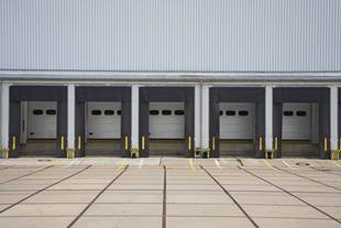 Panoramic view of empty loading docks for trucks
