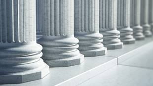 closeup of columns on building