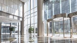 large glass building lobby