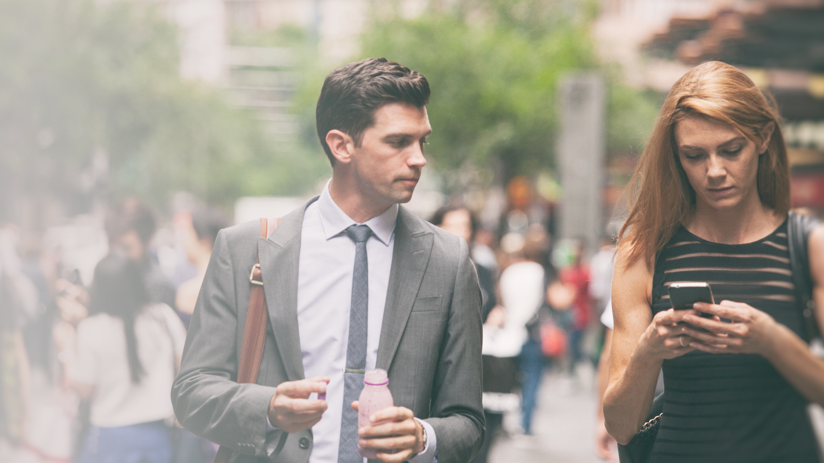 two young business people walking on a break