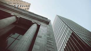 view up of financial buildings