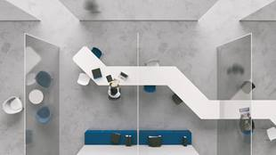Aerial view of people working in a near-empty office