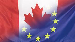 Mix of Canadian and European Union Flags
