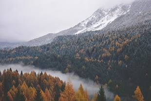 Autumn mountain landscape at the beginning of winter in Canada